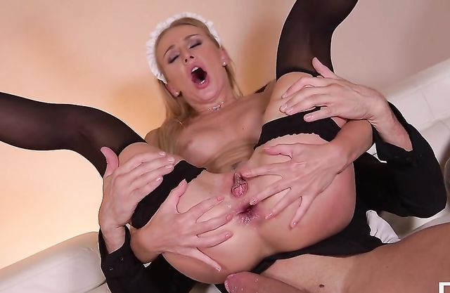 Man handcuffs pin up maid thus making girl feel naked with cock in ass