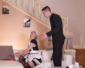 Guy catches pin up maid with handcuffs instead of cleaning naked eye dustiness