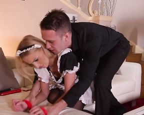 Man handcuffs pin up maid and touches sexy butt with naked greed