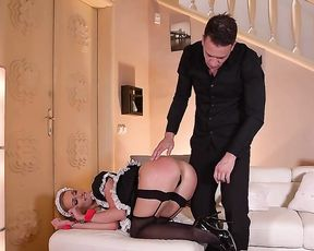 Man gives private fondling to naked buttocks of pin up maid and makes her suck