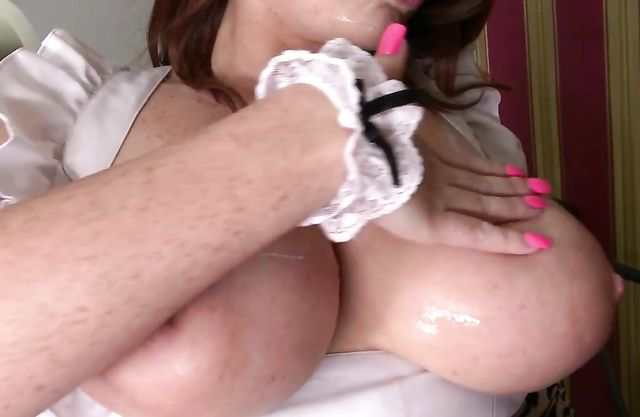 Delightful babe dressed up like maid gets naked penis in mouth and sperm on tits