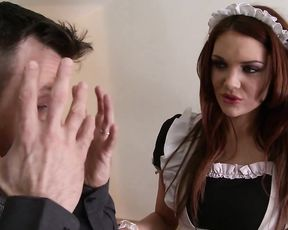 Desirable redhead needs no maid rules preferring to suck naked cock