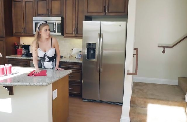 Pleasing maid beckons boss to appreciate her almost naked charms