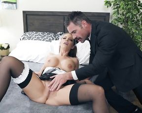 Self-indulgent pin up maid in black stockings shows man naked tits and pussy