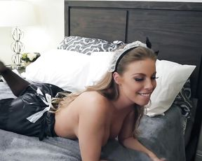 Sensuous maid sees boss is horny enough to have naked oral sex