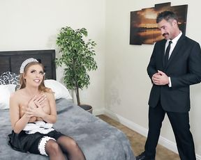 Naughty pin up maid makes mustachioed guy lick her naked pussy
