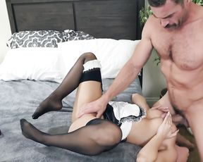 Sexy pin up maid was too naked in bed and employer made her suck