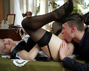 Guy licks maid's naked snatch to prepare it for further penetration