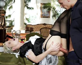 Blonde pin up maid lies on table and enjoys bulge in her naked pussy