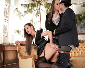 Pretty pin up maid let blindfolded master fuck naked pussy in doggy