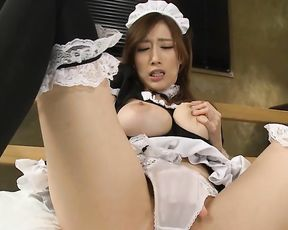 Naked pussy of sweet Japanese pin up maid becomes wet because of her touches