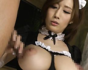 Asian pin up maid with naked jugs gives guys amazing double blowjob