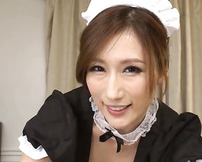 Joyful Japanese pin up maid sucks client's thick manhood in POV scene