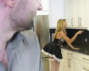 Tricky maid teases master with naked vagina and this works perfectly