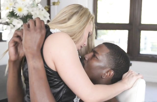 Black buddy enjoys pin-up blonde maid on top of his naked fuckstick