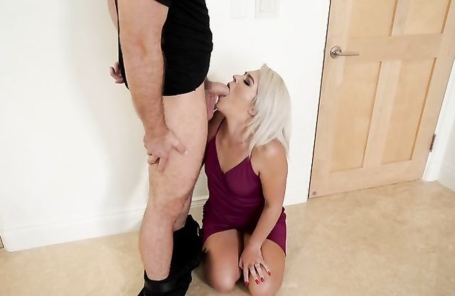 Sexy naked stepmom is sucking thief's cock