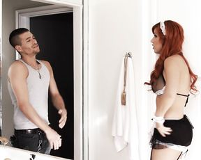 Maid with red hair is so sexy that guy wishes to see her naked assets