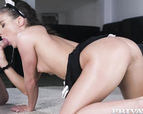 Hungarian maid obtains facial after man fucks naked ass in doggystyle