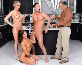 Young naked girl enjoys a very special Thanksgiving threesome