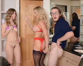 Naked girl fucks her boyfriend and his busty blond-haired stepmom