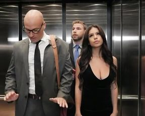 His sexy busty wife got fucked in the elevator while he was looking for help