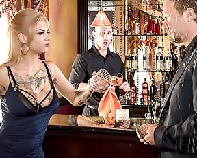 Astonishing girl with tattoos closes the bar to be fucked by naked man