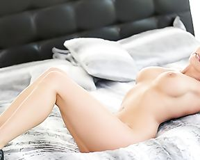 Light-haired girl with nice baps takes BBC in shaved naked pussy