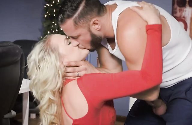 Blonde girl entices husband into naked sex during Christmas party