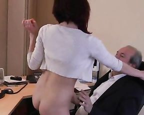Attractive girl is naked and ready to jump on penis of her old boss