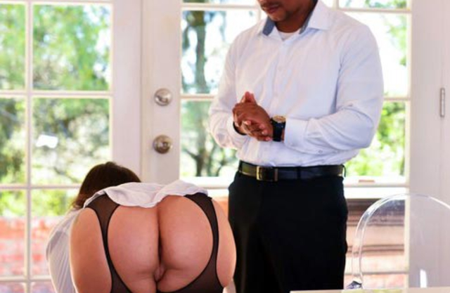 Female with glasses was caught by black young man who fucked girl in naked ass