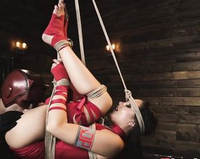 Daredevil ties up girl in red and introduces his cock to her naked vagina