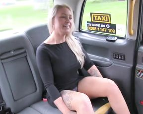 Naked girl with fair hair needs handsome driver to stop the car and hump her