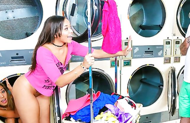 Provoking black girls don't care it's a public place and get naked in laundry