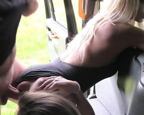 Blonde MILF gives girl strapon for sucking then drills naked pussy