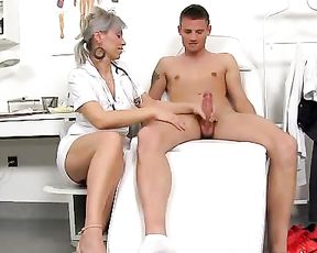 Older girls in doctor uniform make guys cum stroking naked cocks with hands