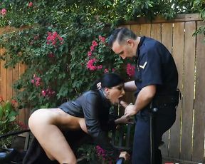 Cop punishes black-haired girl for flashing naked boobs in public