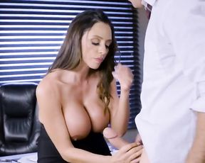 Gorgeous Latina girl tastes coworker's bulge inside her naked peach