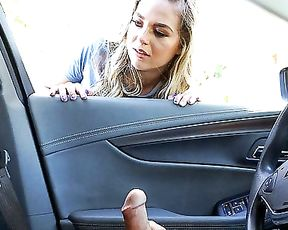 Girl with nice tits is simply irresistible so guy wanks naked cock right in car