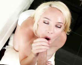 Blonde girl tempted excited man with her naked body into hot oral sex
