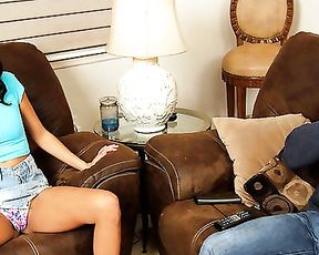 Bored naked girl seduces bald bruiser for quickie in the living room