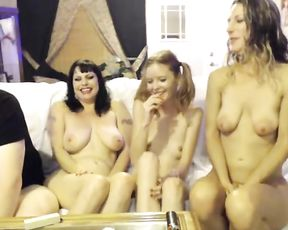 Three sexy girls with naked bodies show cocksucking skills on webcam