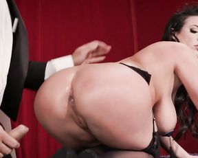 Magician shows a trick and fucks ass of hot girl with big naked tits