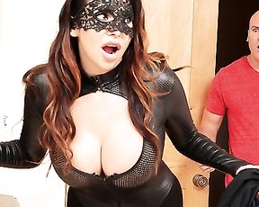 Man catches girl in mask and catsuit and punishes her with big naked dick