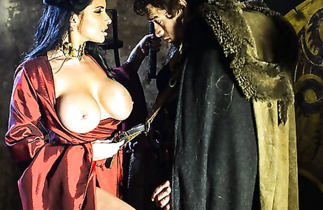 Busty brunette girl is fucked in naked pussy by handsome knight