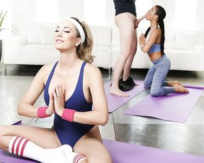 Yoga instructor gives her horny students a lesson in how to be a real slut!