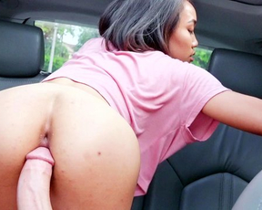 Dirty Ebony girl with taut butt enjoys naked driver gently fucking her