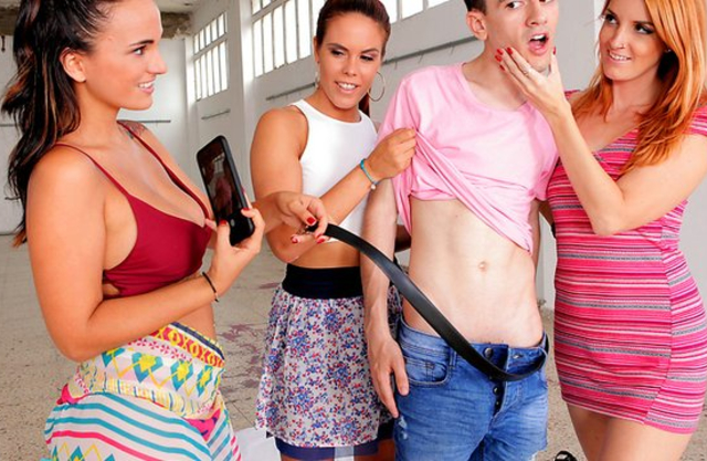 Man is naked after girls catch him spying and oblige to have foursome