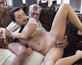 Naked girl is always ready to satisfy lecherous father-in-law while BF is busy