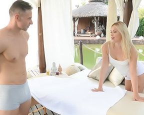 Cute blonde girl skips massage and proceeds to ride man's naked cock