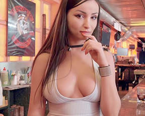 Barmaid shows naked tits to customer with camera and he fucks this hot girl